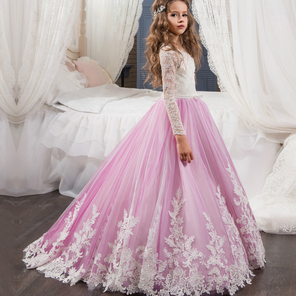 Long Sleeve  Flower Girls  Lace Dresses Purple Skirts First Communion Dress Sexy image 2