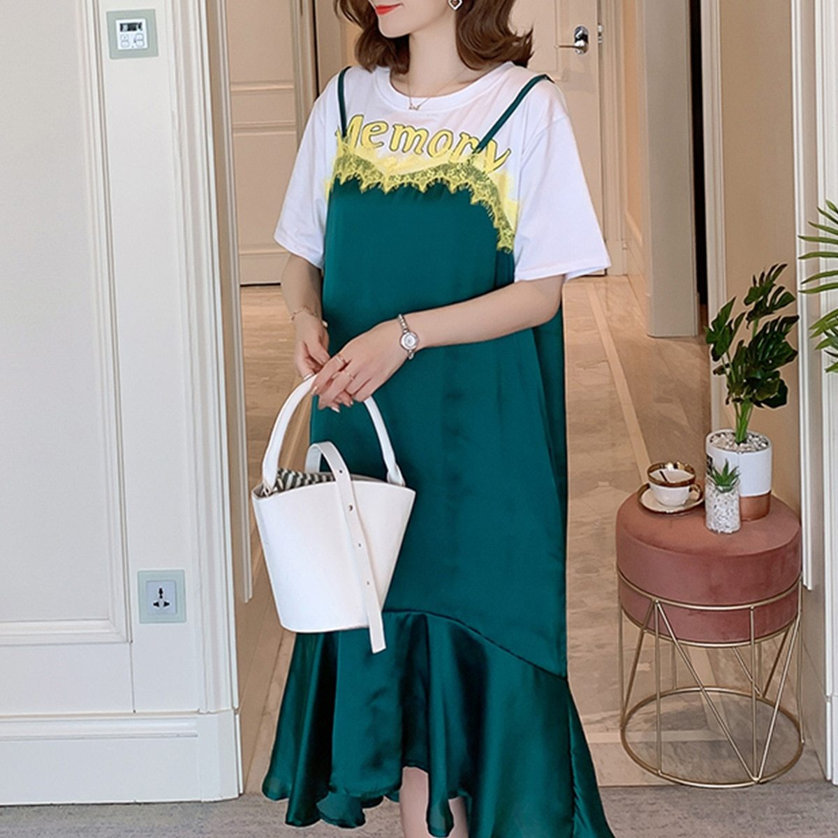 Maternity Dress One Piece Layer Look Patchwork Breathable Dress image 2