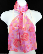 Hearts & Roses Womens Scarf Valentines Day Striped Gift Gold Pink Scarves  - $15.79