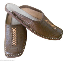 Men Slippers Leather Indian Handmade Traditional Clogs Open Jutties Brown US 7 - $34.99