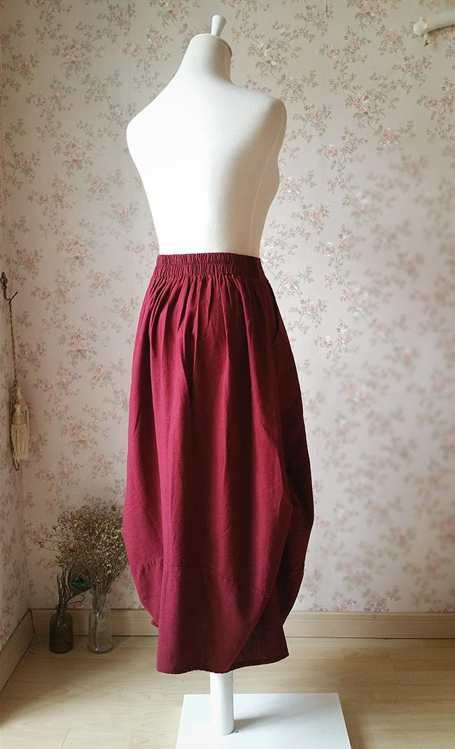 Women Burgundy Linen Skirt Ankle length High Waisted Asymmetric Skirts NWT