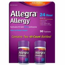 Allegra 24 Hour Allergy Relief 180mg 90ct FREE Priority Shipping (IntlSh... - $52.46