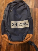 Under Armour Unisex Casual Backpack Blue w/ Gray Strip Brown Base New w/ Tags - $34.53