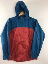 Lands End Windbreaker Kids 14 16 Large Red Blue Hooded Jacket Coat Full ... - $12.90