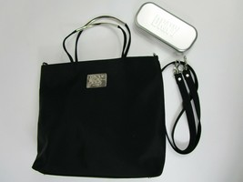 DKNY Black Silver Purse Cross Body Handbag Top Zip Purse +Hardcover Glasses Case - $46.44