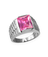 Sterling Silver Mens Square CZ October Birthstone Watchband Ring - $64.99