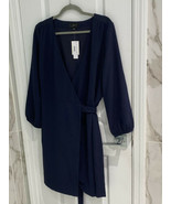 J Crew Women's Navy Blue 365 Crepe Wrap Dress V Neck Belted Size 14 NWT! - $22.41