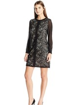 London Times Women's Black Lace Fan Feather Shift Dress / Sheer Sleeve s... - $24.99