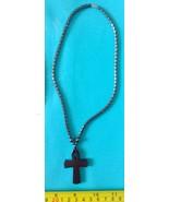 Hematite necklace cross pendant amulet Philippine made jewelry - $11.39