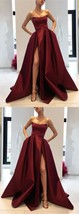 Burgundy Prom Dresses Strapless Bodice Corset Long Evening Gowns With Leg Split  - $189.00
