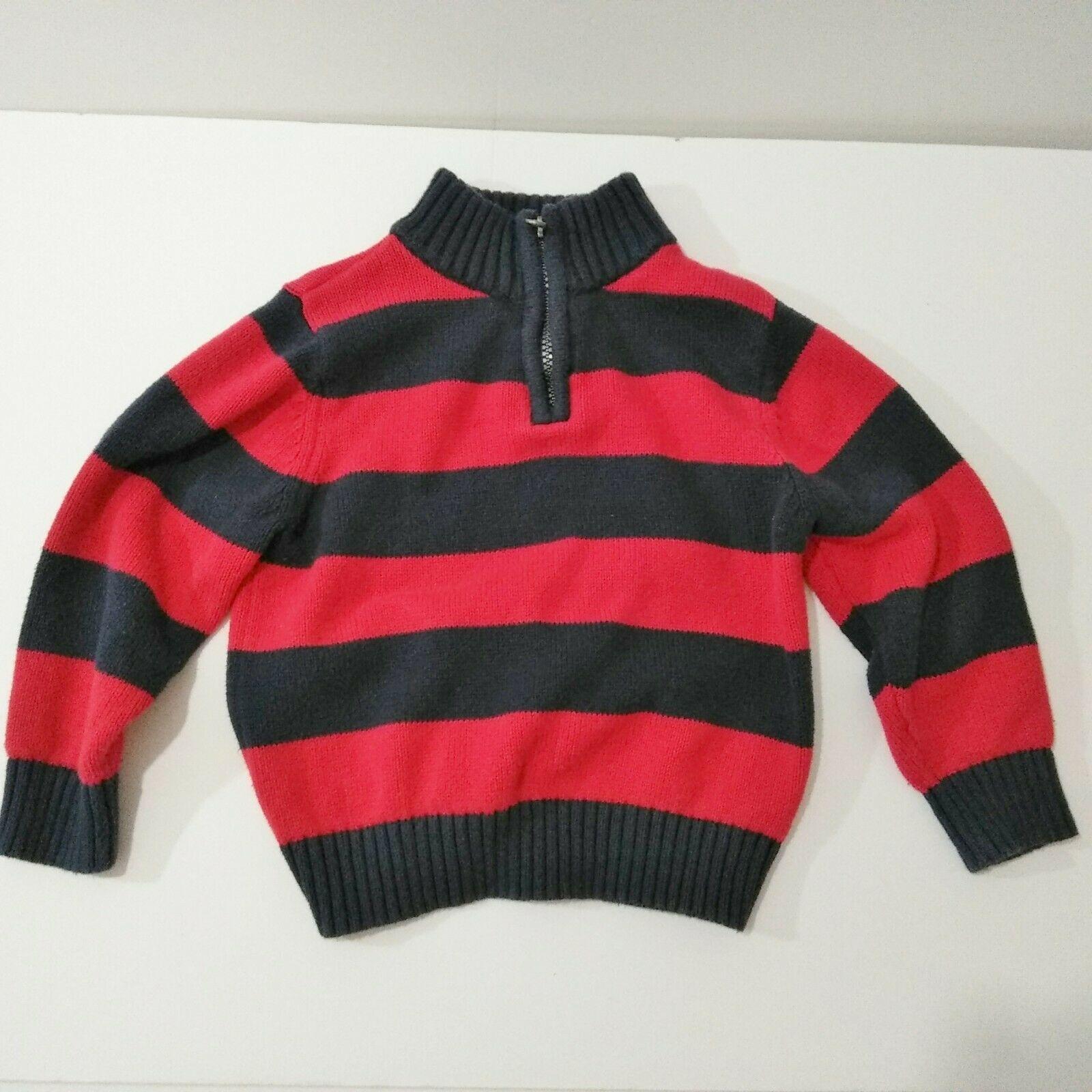 Oshkosh B'gosh 3T Pullover 1/4 Zip Sweater  Red And Blue Stripes Boys  - $9.41