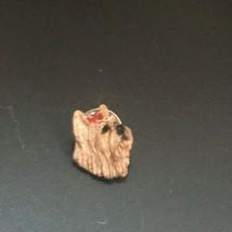 Vintage Small Goldtone Scottie Dog Head w Red Enamel Bow Lapel Hat Pin Tie Tac – - $1.00