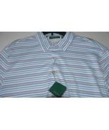 NWT BOBBY JONES Golf polo shirt L golfer white w/ blue, red pinstripe me... - $65.95