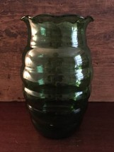 Anchor Hocking Forest Green Whirly Twirly 7 inch Crimped Vase Lot 4 - $19.99
