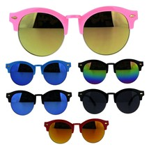 Kids Girls Half Horn Rim Round Hipster Nerdy Sunglasses - $9.95