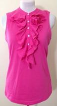 """Womens Ralph Lauren Bright Pink Ruffle Neck T Shirt Size Medium """"Lauren"""" RRP £60 - $42.84"""