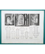 ARCHITECTURE Mainz Cologne Speyer Hildesheim Cathedral - 1870 Engraving ... - $16.20