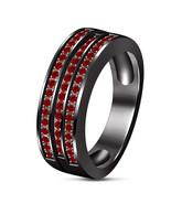 Black Rhodium Over 925 Sterling Silver Red Garnet Mens Wedding Anniversa... - $93.73