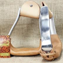Hilason New Aluminum Slanted Horse Saddle Stirrups With Leather U-5DCA - $73.99