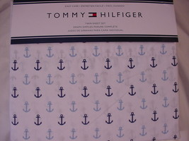 Tommy Hilfiger Navy and Light Blue Anchors on White Nautical Sheet Set Twin - $49.99