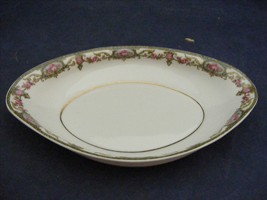 A Lanternier Limoges France Oval Relish Bowl Yellow Green Pink Roses - $9.95