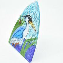 Fused Art Glass Blue Heron Cattail Nightlight Night Light Handmade Ecuador image 3