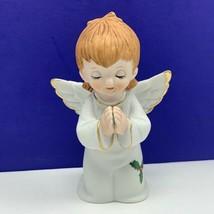 Angel figurine vintage porcelain sculpture Christmas Lefton 1984 pray 04... - $19.60