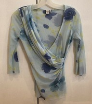 Sweet Pea Blue Floral Faux Wrap V Neck Tunic Top Sz Small EUC - $42.57