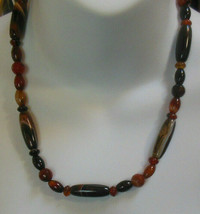Vintage Brown Rootbeer Marble Swirl Glass Bead Necklace  - $37.62