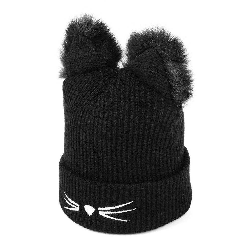 Knitted Cat Ears Hats Warm Winter Hat Women Wool Faux Mink Caps Female Beanies