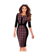 Nice-forever Contrast Patchwork Bodycon Sheath Female Dress B409  - $35.00