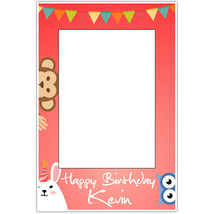 Red Cute Animals Birthday Selfie Frame Poster - $16.34+