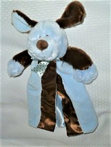 "Baby Essentials Blue Brown Dog Dot Bow Security Blanket Velour Satin 12""L - $25.31"