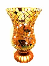 PartyLite Candle Holder Gold Global Fusion Mosaic Hurricane Stained Glass Vase - $64.34