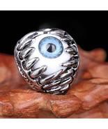 Men Punk Titanium Skull Dragon Claw Blue Evil Eye Biker Ring Sz 8,9,10, ... - $14.00