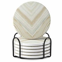 Absorbent Drink Coasters Sets with Holder, Joda Ceramic Stone Coasters w... - $22.08