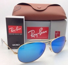 New Ray-Ban Sunglasses RB 3362 COCKPIT 112/17 59-14 Gold Frame w/ Blue Mirror