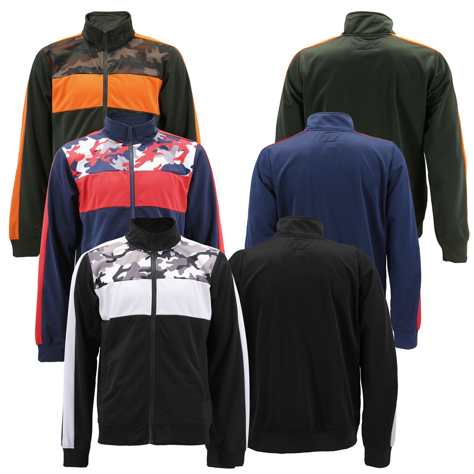 Men's Camo Striped Zip Up Athletic Slim Fit Running Jogging Gym Track Jacket