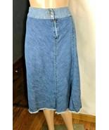 Lee One True Fit Women's Denim Skirt Size 11/12 Extra Long Raw Hem Vintage - $28.14