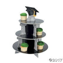 Graduation Cupcake Display Stand Tower Party Black Grad Cap Foam Tray - $21.35