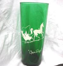 VTG Green Glass Open Sleigh Iced Tea Tumbler Anchor Hocking Christmas Ho... - $13.54