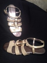 Calvin Klein Colbie Gold Lizard Women's Designer Shoes Strappy Flats Sandals 8M - $26.72