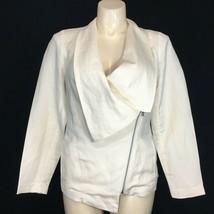H By Halston 12 Large Blazer Jacket Linen Bl Ivory Cream Moto Collar Zip... - $49.95