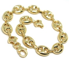 18K YELLOW GOLD MARINER BRACELET BIG 10 MM, 8.3 INCHES, ANCHOR ROUNDED OVAL LINK image 1
