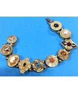 Vintage Krementz Victorian Slide Bracelet 14k Gold Filled Genuine Gemsto... - $1,036.04