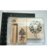 Stampin Up Wood Mount Set of 5 Fruit of the Season Wreath Topiary Tree L... - $17.57