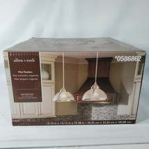 Allen Roth Mini Pendant Light Vintage Clear Ribbed Glass Dome Satin Nickel New - $37.40