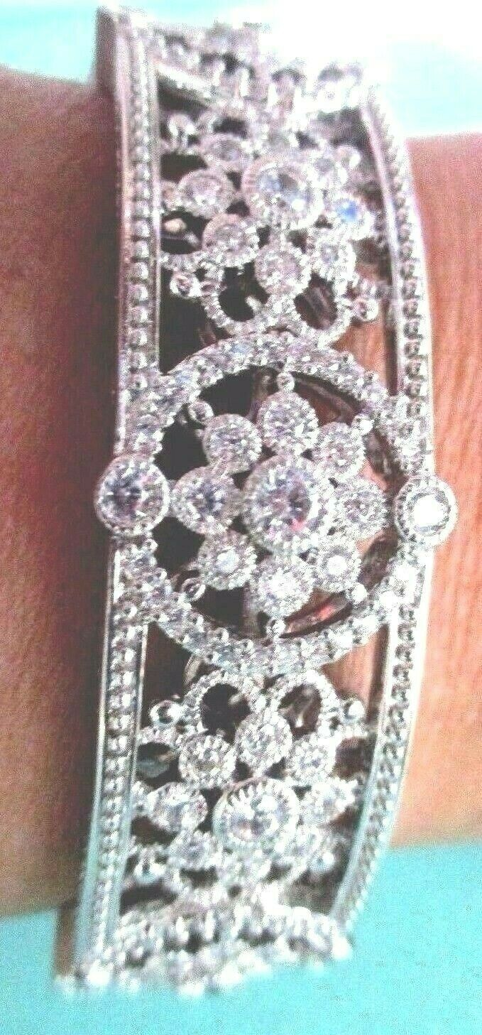 Judith Ripka Sterling Silver Diamonique Floral Hinged Cuff Bracelet AVG JR Box image 7