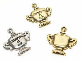 #1 Champion Cup Fine Pewter Pendant Charm - 19.5mm X 21mm X 3mm