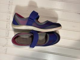 Lands End Womens Mary Jane Water Shoes Blue 483767 Low Top Hook Loop Mesh 6.5d - $12.64